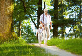 Father and son walking the forest sunlit path — Stock Photo