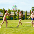 Group of teenage kids playing with ball on summer lawn — Stock Photo #48165049
