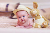 Portrait of cute infant baby, three months old — Stock Photo