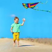 Happy boy playing with kite on summer field — Stock Photo