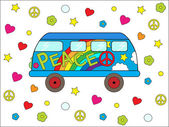 Hippie bus — Stock Vector
