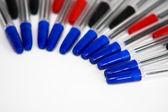 Długopis, niebieski, czerwony i czarny — Zdjęcie stockowe
