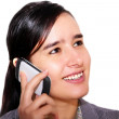 Young women speaking on telephone — Stock Photo