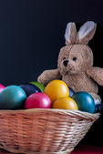 Easter, eggs and bunny — Stock Photo