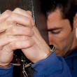 Young man handcuffed  — Stock Photo