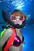 Female scuba diver — Stock Photo