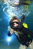 Vintage scuba woman — Stock Photo