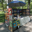 Stock Photo: Souvenirs and vintage posters sale tray in Central Park of New York