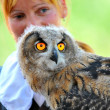 ������, ������: Owl and lady trainer