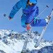 Ski jumper in blue — Stock Photo