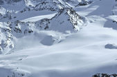 Ski tracks on alpine glaciers — Stock Photo