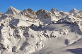Swiss Alps: Dent Blanche, Matterhorn and Dent d'Herens — Stock Photo