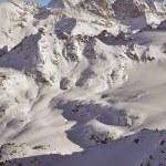 Ski tracks across a mountain landscape — Stock Photo
