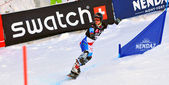Competing in the Snowboard Cross World Cup — Stock Photo