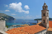 Church, harbour and fortifications Dubrovnik — Stock Photo