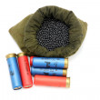 Bag of shot and hunting ammunition - Stock Photo