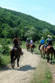 Horse riding in the town Plyaho - Yellow Snake Valley. Tuapse district, Krasnodar Krai, Russia. — Stock Photo