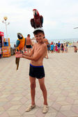 Iki papağan mutlu çocuk — Stok fotoğraf