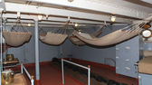 "Berths in the forecastle aboard the cruiser ""Aurora"", St. Petersburg, Russia. — Stockfoto"