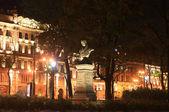 Vasily Zhukovsky bust in the Alexander Garden at night. St. Petersburg, Russia. — Stock Photo