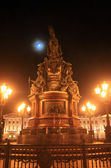 St. Petersburg, Russia. The monument to Nicholas I on the background of the moon. — Stock Photo