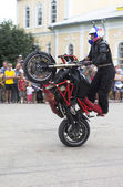 Masterly control of the motorcycle Alexei Kalinin — Stock Photo
