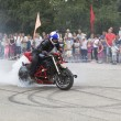 ������, ������: The smoke from the wheel of the motorcycle Alexei Kalinin motorcycle show in the village Verhovazhe Vologda region Russia