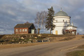 Kinds villages Morozovo Vologda region, Russia. Temple of the Protection Blessed Virgin — Stock Photo