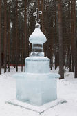 Ice sculpture near the house Father Frost — Stock Photo
