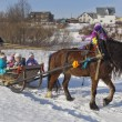 Children ride in sleigh horse Shrovetide  Verkhovazhye village, Vologdregion, Russia — Stock Photo #41812815