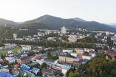 Evening view from the Ferris wheel on settlement Lasarevskoye, Sochi, Russia — Stock Photo