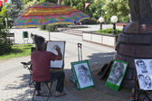 Artist at work at the Center of national cultures in Sochi, Russia — Stok fotoğraf