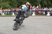 Thomas Kalinin Moto show in the village Verkhovazhye, Vologda region, Russia — Stock Photo