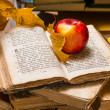 Apple and open old book — Stock Photo