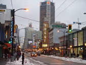 Vancouver's Granville Street in winter — Stock Photo