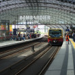Stock Photo: Train approaching platform at Berlin Hauptbahnhof station