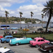 Stock Photo: Classic cars along Havanwaterfront