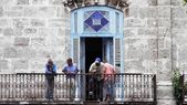 Locals on a Havana balcony — Stock Photo