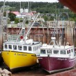 Stock Photo: Fishing Boats at Low Tide (Alma, New Brunswick)