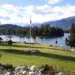 Stock Photo: Lake-front view from Fairmont Jasper Park Lodge
