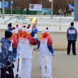 Transfer of the Olympic flame at one stage in Novosibirsk — Stock Photo