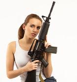 Mulher com espingarda — Foto Stock