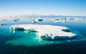 Aguamarina iceberg con pingüinos — Foto de Stock