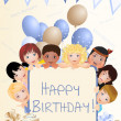 Stock Photo: Background for birthday party