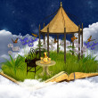 Dreamy reading place in the sky - Stock Photo