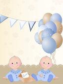 Newborn twin boys — Stock Photo