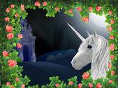 Unicorn in roses — Stock Photo