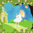 Fairy castle and fee — Stock Photo