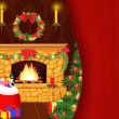 Fireplace on Christmas — Stock Photo