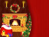 Chimenea en navidad — Foto de Stock